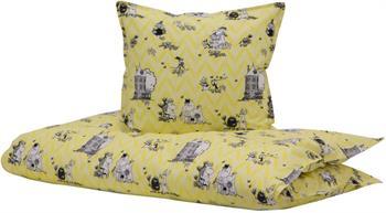 Junior Sengetøj - Mumitroldene gul - 100x140 cm - 100% Økologisk bomuld - Home-tex