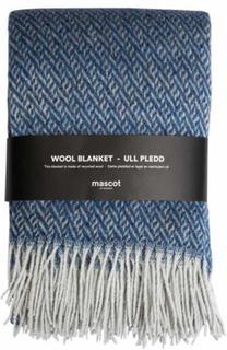 Uldplaid - Høie - Mascot - Blå zigzag - 130 x 180 cm
