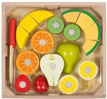 Trefrukt - Melissa & Doug - 7 frukter som kan deles med en kniv - I flott trekasse