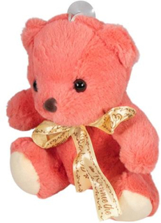 Bamse - 20 cm høj - Rosafarvet bamse - med sugekop til at hænge