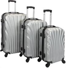 Trolleysæt med 3 stk i grå - Hard case kuffertsæt - Stødsikkert polypropylen
