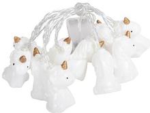 Lyskugler - LED - lyskæde med 10 Unicorn figurer - Længde 2 meter