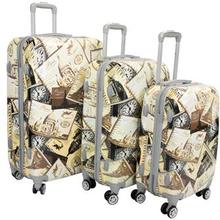 Kuffert sæt med 3 stk - Postkort - Hard case trolleysæt - Stødsikkert polypropylen