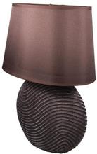 Mørk bordlampe med stofskærm - Højde 37 cm.