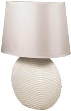 Lys bordlampe med stofskærm - Højde 37 cm.