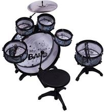 Trommesæt - sort - Med 6 Trommer og Hi - hat
