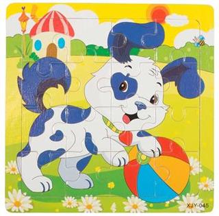 Puslespil med sød lille hund - 16 brikker