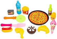 Matsett med fastfood - lekesett - Med pizza og pommes frites - 13 deler