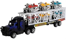 Legetøjs selvkørende sort Lastbil - Med anhænger. 52cm