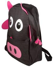 Skoletaske - Sort rygsæk til børn - Med pink ører