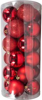 Kæmpe Julekugler - Røde - Pakke med 24 stk. Måler 8 cm i diameter