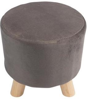 Sidde puf - Skammel grå betræk - Træben