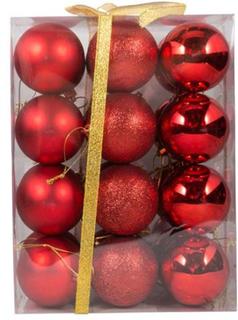 Julekugler - Røde - Pakke med 24 stk. Måler 6 cm i diameter