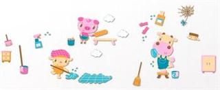 Wallstickers i skum - Glade dyr som vasker - Stort ark på 70x50 cm.