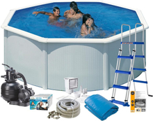Swim & Fun Poolpaket Bas Ø350x120 Vit