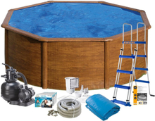 Swim & Fun Poolpaket Bas Ø460x120 Trälook