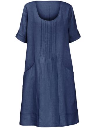 Klänning uppvikbara 3/4-ärmar – 100% linne från Anna Aura blå