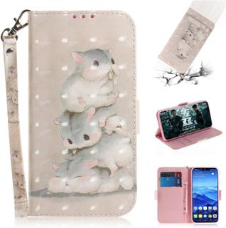 Huawei Mate 20 Lite beskyttelses deksel av syntetisk skinn med printet mønster og lyse flekker dekor - hamster