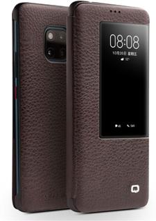 QIALINO Huawei Mate 20 Pro beskyttelses deksel av behandlet kuskinn - kaffe