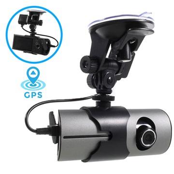 Dual Lens DVR Bil-Videokamera med GPS-funktion R300