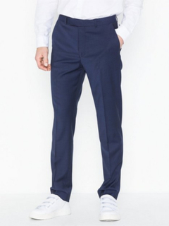 Topman Premium Navy Slim Check Trousers Bukser Navy Blue