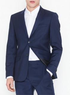 Topman Premium Navy Slim Check Blazer Blazere & jakkesæt Navy Blue