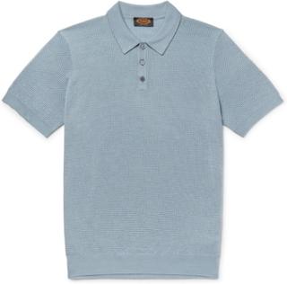 Slim-fit Textured Merino Wool And Silk-blend Polo Shirt - Light blue