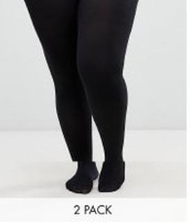 ASOS DESIGN - Curve - 2-pack tights i 90 denier i extra stretchig passform - Svart