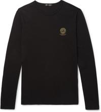 Versace - Logo-print Stretch Cotton-blend T-shirt - Black - XL,Versace - Logo-print Stretch Cotton-blend T-shirt - Black - M,Versace - Logo-print Stretch Cotton-blend T-shirt - Black - S,Versace - Logo-print Stretch Cotton-blend T-shirt - Black - XXL,Vers