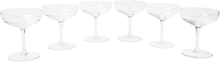 Set Of Six Crystal Champagne Coupes - Clear
