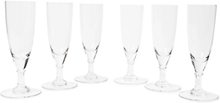 Set Of Six Crystal Champagne Glasses - Clear