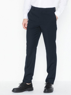 Topman Navy Textured Slim Fit Suit Trousers Bukser Dark Blue