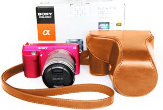 Sony NEX-F3 Beskyttelsesveske laget av kunstlær - Brun