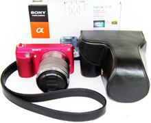 Sony NEX-F3 Beskyttelsesveske laget av kunstlær - Svart