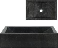 vidaXL Handfat 45x30x12 cm marmor svart