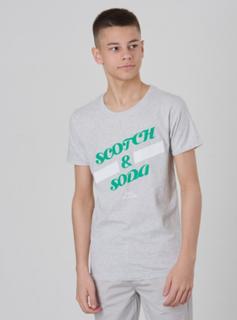 Scotch & Soda, SS Scotch & Soda Logo Tee, Grå, T-shirt/Singlet för Gutt, 16 år