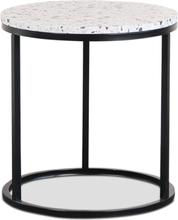 Terrazzo sidobord Ø50 cm - Terrazzo Cosmos & underrede accent i svart metall