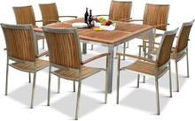 Matgrupp i rostfritt stål och oljad Acacia   8 stolar