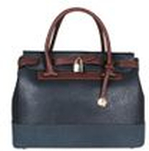 L. CREDI Damen Handtasche Bowling Bag Nathalie Blau/ Braun