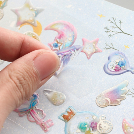 1 Sheet Crystal 3D Stickers Cute Stars Dessert Decorative Adhesive Stickers For Mobile Decorations Scrapbooking Diary Diy Albums