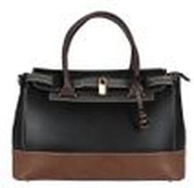 L. CREDI Damen Handtasche Bowling Bag Nathalie Schwarz/ Braun