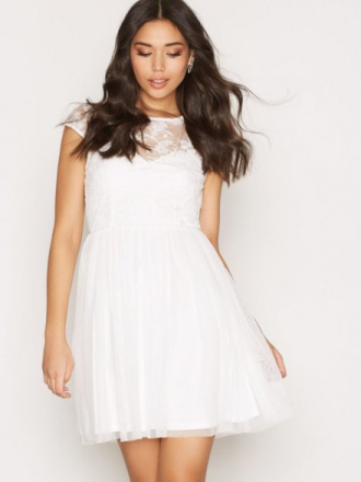 NLY One Follow Me Lace Dress Skater Dresses Vit