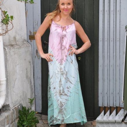8e444020d087 Bohem långklänning, rosa turkos batik
