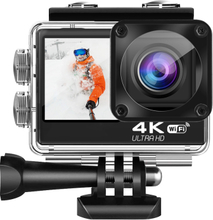 AT-Q60CR 4K Ultra HD action camera IPS Wifi Dual Screen Touch + Sony lens + Remote