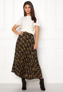 New Look Chain Print Pleat Skirt Black Pattern XS (UK8)