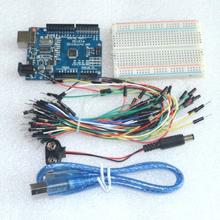 Starter Kit for arduino Uno R3 - Bundle of 5 Items: Uno R3, Breadboard, Jumper Wires, USB Cable and 9V Battery Connector
