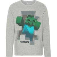 NAME IT Kids Langærmet Minecraft T-shirt Mænd Grå - NAME IT
