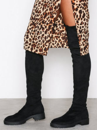 Flat - Svart NLY Shoes Chunky Flat Thigh High Boot