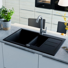 vidaXL Kjøkkenvask i granitt dobbel kum svart