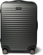 Leather-trimmed Polycarbonate Carry-on Suitcase - Gray